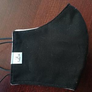 Fekete szájmaszk, arcmaszk., NoWaste, Textilek, Táska, Divat & Szépség, Szépség(ápolás), Maszk, szájmaszk, Varrás, Az újrafelhasználás jegyében készítettem szájmaszkot.\nA maszkok kalapgumival készültek, biztonsági v..., Meska