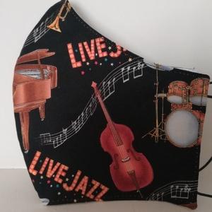 Live jazz....szájmaszk, arcmaszk. , NoWaste, Textilek, Táska, Divat & Szépség, Szépség(ápolás), Egészségmegőrzés, Maszk, szájmaszk, Varrás, Az újrafelhasználás jegyében készítettem szájmaszkot.\nA maszkok kalapgumival készültek, biztonsági v..., Meska