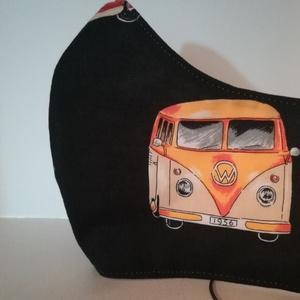 Volkswagen és retro érzés......szájmaszk, arcmaszk, NoWaste, Textilek, Táska, Divat & Szépség, Szépség(ápolás), Egészségmegőrzés, Maszk, szájmaszk, Varrás, Az újrafelhasználás jegyében készítettem szájmaszkot.\nA maszkok kalapgumival készültek, biztonsági v..., Meska