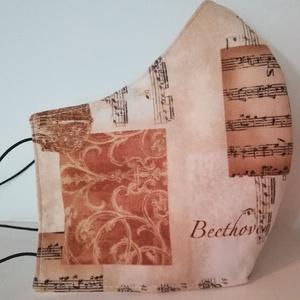 Beethoven  és a billentyűk...szájmaszk, arcmaszk. , NoWaste, Textilek, Táska, Divat & Szépség, Szépség(ápolás), Egészségmegőrzés, Maszk, szájmaszk, Varrás, Az újrafelhasználás jegyében készítettem szájmaszkot.\nA maszkok kalapgumival készültek, biztonsági v..., Meska