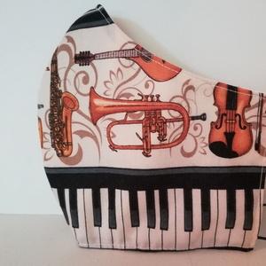 Zongora klaviatúra és egyéb hangszerek...szájmaszk, arcmaszk. , NoWaste, Textilek, Táska, Divat & Szépség, Szépség(ápolás), Egészségmegőrzés, Maszk, szájmaszk, Varrás, Az újrafelhasználás jegyében készítettem szájmaszkot.\nA maszkok kalapgumival készültek, biztonsági v..., Meska