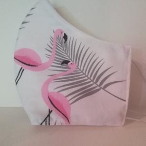 Flamingós szájmaszk,, NoWaste, Textilek, Táska, Divat & Szépség, Szépség(ápolás), Egészségmegőrzés, Maszk, szájmaszk, Varrás, Az ujrafelhasználás jegyében készítettem szájmaszkot.\nA maszkok kalapgumival készültek, biztonsági v..., Meska