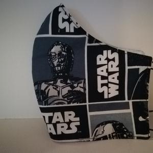 Starwars, C-3PO szájmaszk, arcmaszk., Férfi & Uniszex, Maszk, Arcmaszk, Varrás, Az újrafelhasználás jegyében készítettem szájmaszkot.\nA maszkok kalapgumival készültek, biztonsági v..., Meska
