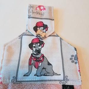 Sapka, sál!  kutyusos konyhai törlő, Otthon & Lakás, Konyhafelszerelés, Konyharuha & Törlőkendő, Varrás, Vicces, fázós kis kutyus van a törlő felső részén. \nAmennyiben a te kutyusod hasonlít rá ne habozz h..., Meska