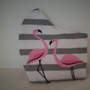 Flamingós szájmaszk, szürke csíkos, NoWaste, Textilek, Táska, Divat & Szépség, Szépség(ápolás), Egészségmegőrzés, Maszk, szájmaszk, Varrás, Az ujrafelhasználás jegyében készítettem szájmaszkot.\nA maszkok kalapgumival készültek, biztonsági v..., Meska