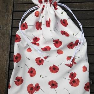 Pi-piros a pipacs virága........kenyeres zsák , PUL-lal bélelt, Kenyeres zsák, Bevásárlás & Shopper táska, Táska & Tok, Varrás, Kevert szálas dekor vászonból  PUL béléssel készítettem, A PUL bélés egy légáteresztő, frissen tartó..., Meska