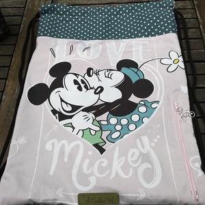 Love Mickey..........hátizsák, gymbag, , Gymbag, Hátizsák, Táska & Tok, Varrás, Ajándékba készítettem a fotókon látható darabot, de elkészítem újra, ha szeretnéd.  Az elejére tette..., Meska