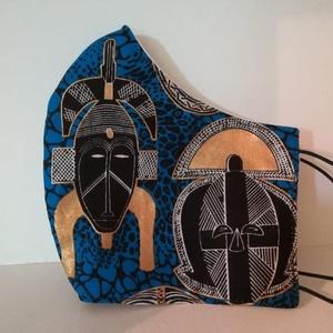 Maszk a maszkon.......szájmaszk, arcmaszk, NoWaste, Textilek, Táska, Divat & Szépség, Szépség(ápolás), Egészségmegőrzés, Maszk, szájmaszk, Varrás, Különleges, régi afrikai törzsi maszkok a maszkon.\nA maszkok kalapgumival készültek, biztonsági varr..., Meska