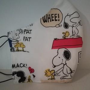 Snoopy és a kismadár, rajzfilm jelenetek ...... szájmaszk, arcmaszk, NoWaste, Textilek, Táska, Divat & Szépség, Szépség(ápolás), Maszk, szájmaszk, Varrás, Egyedi, különleges prémium textilből készült maszkok. Minden darab más és más.\nA maszkok kalapgumiva..., Meska