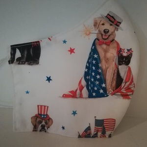 A kutyák Amerikában jártak.......szájmaszk, arcmaszk., NoWaste, Textilek, Táska, Divat & Szépség, Szépség(ápolás), Egészségmegőrzés, Maszk, szájmaszk, Varrás, A kutyák Amerikában jártak és volt velük egy cicus is, vagy csak tematikus farsangi bálban voltak? N..., Meska