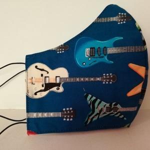Basszus gitárok.....szájmaszk, arcmaszk. , NoWaste, Textilek, Táska, Divat & Szépség, Szépség(ápolás), Egészségmegőrzés, Maszk, szájmaszk, Varrás, Az újrafelhasználás jegyében készítettem szájmaszkot.\nA maszkok kalapgumival készültek, biztonsági v..., Meska