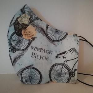 Vintage bicycle........ szájmaszk, arcmaszk., NoWaste, Textilek, Táska, Divat & Szépség, Szépség(ápolás), Egészségmegőrzés, Varrás, Az újrafelhasználás jegyében készítettem szájmaszkot.\nA maszkok kalapgumival készültek, biztonsági v..., Meska