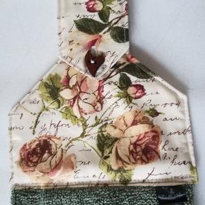 Shabby chic......konyhai törlő, romantikus rózsás, Otthon & Lakás, Konyhafelszerelés, Konyharuha & Törlőkendő, Varrás, Romantikus rózsás, shabby chic stílusú vászonból és frottírból készítettem,. Így jött létre ez a  cs..., Meska