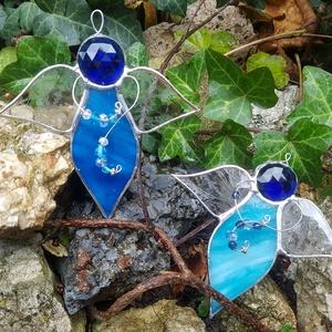 Kék tiffany angyal, Otthon & lakás, Dekoráció, Ünnepi dekoráció, Karácsony, Üvegművészet, Tiffany technikával készült üveg  angyal., Meska