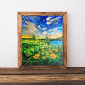 Fricskázó fellegek, Otthon & lakás, Képzőművészet, Festmény, Akril, Festészet, Eképpen csiklandozza meg a mezőt és a virágokat az égbolt, s a boldogságot, mint levegőt, így szippa..., Meska