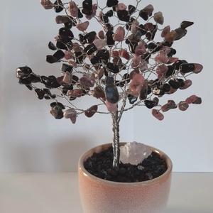 Ónix-Rodonit ásványfa, Otthon & Lakás, Dekoráció, Dísztárgy, Gyöngyfűzés, gyöngyhímzés, Ónix-Rodonit fa. 100-100 db. kő alkotja a lombot. Törmelékkő néven vannak forgalomban a szemek 0,5 é..., Meska