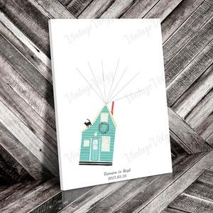 Ujjlenyomatgyűjtő vendégkönyv- Ház, Dekoráció, Otthon & lakás, Esküvő, Esküvői dekoráció, Meghívó, ültetőkártya, köszönőajándék, Fotó, grafika, rajz, illusztráció, Nagy divatja van mostanában a kreatív vendégkönyveknek, amelyek az esküvő után a pár otthonában deko..., Meska