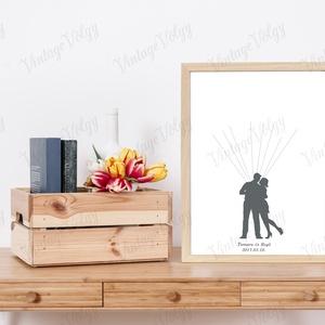 Ujjlenyomatgyűjtő vendégkönyv- Sziluett, Dekoráció, Otthon & lakás, Esküvő, Esküvői dekoráció, Meghívó, ültetőkártya, köszönőajándék, Fotó, grafika, rajz, illusztráció, Nagy divatja van mostanában a kreatív vendégkönyveknek, amelyek az esküvő után a pár otthonában deko..., Meska