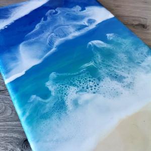 Epoxy festmény - Óceán, Művészet, Festmény, Festészet, Eladó a képeken látható, feszített vászonra készült epoxy Óceán feeling festményem.\n\nMérete :25x20 c..., Meska