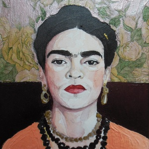 Frida Kahlo portré, Portré, Portré & Karikatúra, Művészet, Festészet, Fotó, grafika, rajz, illusztráció, Ezt az akvarell portrét fotó alapján festettem Frida Kahloról. Akvarell és akril festéket használtam..., Meska