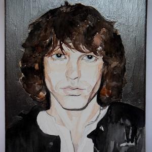 Jim Morrison portré, Képzőművészet, Otthon & lakás, Festmény, Akvarell, Festmény vegyes technika, Festészet, Ezt az akvarell képet  nagy kedvencemről, Jim Morrisonról a Doors frontemberéről festettem meg. Vegy..., Meska
