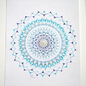 Kék és Hologramm Mandala Kép, Művészet, Más művészeti ág, Fotó, grafika, rajz, illusztráció, Tűfilccel,és dekor fóliával készült Mandala ,saját tervezésben.Mérete 30x40 cm.Kicsit szolídabb,de m..., Meska