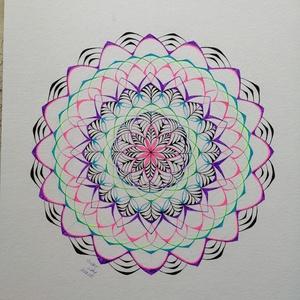 Mandala neon , Művészet, Grafika & Illusztráció, Fotó, grafika, rajz, illusztráció, Tűfilccel készült, saját tervezésű mandala. 30x40cm.\n, Meska