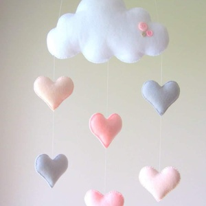 Felhős babaszoba dekoráció , Játék & Gyerek, Babalátogató ajándékcsomag, Varrás, Filcből készült babaszoba dekoráció, mely akasztható falra, vagy baldachinos kiságyra is. \nBabalátog..., Meska