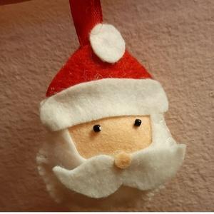 Mikulás , Otthon & Lakás, Karácsony & Mikulás, Mikulás, Varrás, Kis mikulás fej, akasztóval. \nMérete: kb. 8 cm\n, Meska