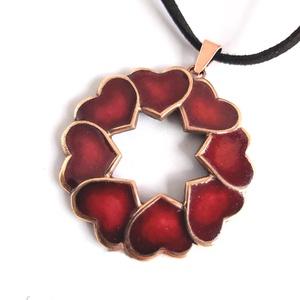 My Valentine - Szívkoszorú fülbevaló (bronz), Ékszer, Nyaklánc, Medálos nyaklánc, Ötvös, Tűzzománc, Meska