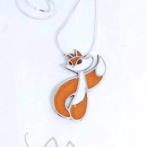 Lili a rókalány - ezüst tűzzománc medál (narancs) - ezüst lánccal, Ékszer, Nyaklánc, Medál, Ötvös, Tűzzománc, Meska