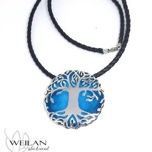 Edda - Yggdrasil - világfa / életfa ezüst tűzzománc medál (kék), Ékszer, Nyaklánc, Medálos nyaklánc, Ötvös, Tűzzománc, Meska