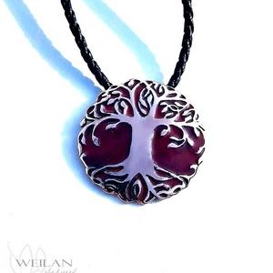 Edda - Yggdrasil - világfa / életfa bronz tűzzománc medál (vörös), Ékszer, Nyaklánc, Medálos nyaklánc, Ötvös, Tűzzománc, Meska