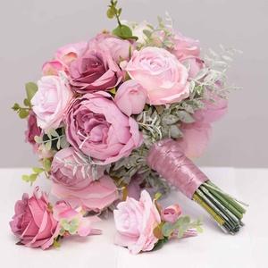 Mályva-rózsaszín menyasszonyi csokor kitűzővel, Esküvő, Menyasszonyi- és dobócsokor, Virágkötés, Mályva -rózsaszín menyasszonyi örökcsokor kitűzővel.\nCsokor átmérője 28-29 cm ,magassága 32 cm\nMályv..., Meska