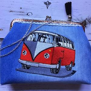 Rendelhető! Volkswagen T1 retro autós fémkeretes- farmer  tárca. (wiki001) - Meska.hu