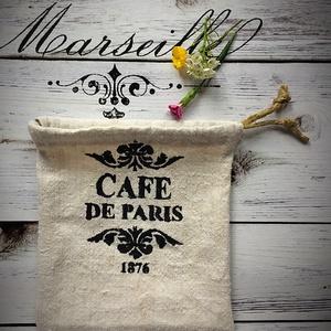 CAFE DE PARIS-Kendervászon mini zsák (wiki001) - Meska.hu