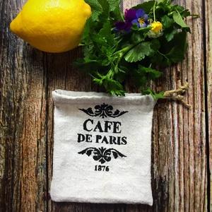CAFE DE PARIS-Kendervászon mini zsák, Táska, Divat & Szépség, Táska, Szatyor, AKCIÓ:   15.000 Ft feletti vásárlás esetén, a postaköltséget én állom amennyiben FOX Post automatába..., Meska