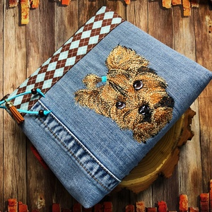Hímzett Yorkshire Terrier mintás farmer és vászon neszesszer, Táska & Tok, Neszesszer, AKCIÓ:   15.000 Ft feletti vásárlás esetén, a postaköltséget én állom amennyiben FOX Post automatába..., Meska