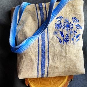 Csupa KÉK-Hímzett mezei virágos zsákvászon rusztikus táska, Táska & Tok, Kézitáska & válltáska, Válltáska, Varrás, Hímzés, AKCIÓ: \n\n15.000 Ft feletti vásárlás esetén, a postaköltséget én állom amennyiben FOX Post automatába..., Meska