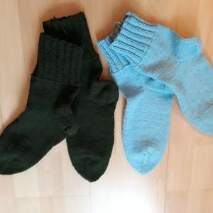 Gyapjú zokni, Ruha & Divat, Kötés, Gyapjú fonalból készült zokni 42-43 as méret, Meska
