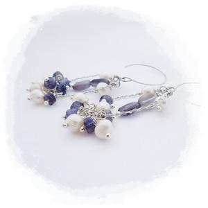 Kék-fehér  fülbevaló (windprincess) - Meska.hu