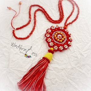 Extravagáns bohém nyaklánc , piros (windprincess) - Meska.hu