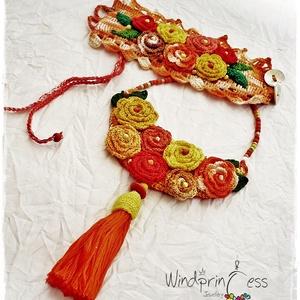 Extravagáns bohém karkötő, piros-narancs (windprincess) - Meska.hu