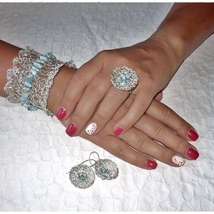 Gyűrű, larimar, fémcsipke (windprincess) - Meska.hu