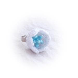 Horgolt gyűrű, hófehér (windprincess) - Meska.hu