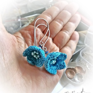 Fülbevaló, horgolt virágos, a kék nyakbavalóhoz (windprincess) - Meska.hu