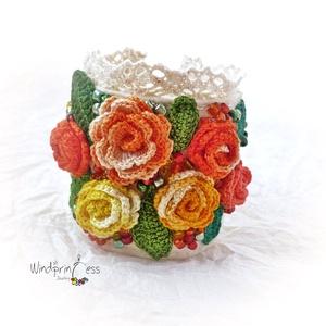 Extravagáns bohém karkötő  színes rózsákkal (windprincess) - Meska.hu