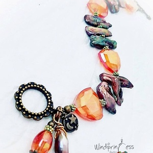 Biwa gyöngyös karkötő , bronz-narancs színvilág (windprincess) - Meska.hu