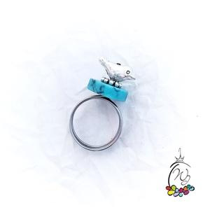 Maradas gyűrű türkinittel, acél sínnel (windprincess) - Meska.hu