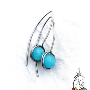 Acél fülbevaló acháttal, Ékszer, Fülbevaló, Lógó fülbevaló, Ékszerkészítés, Horgolás, 1 mm-es acélszálból készült elegáns fülbevaló , a képen kék , festett acháttal   de kérheted mással ..., Meska